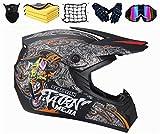 SYANO Casco da motocross per bambini, Casco integrale da motocross con occhiali, unisex, con guanti, occhiali di protezione, maschera, per downhill Bike ATV BMX (S)