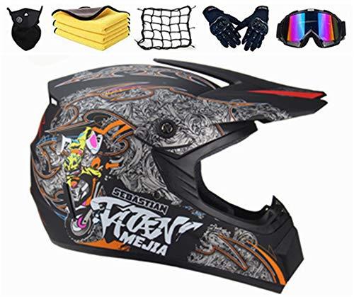 SYANO Casco da motocross per bambini, Casco integrale da motocross con occhiali, unisex, con guanti, occhiali di protezione, maschera, per downhill Bike ATV BMX (XL)