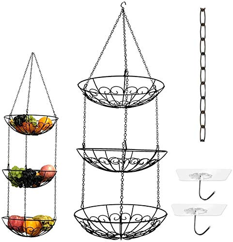 3-Tier Wire Hanging Fruit Basket with Black Chain Extender and Two Free Ceiling Hook - Perfect for Fruit, Vegetables, Snacks, Household Items, Ect