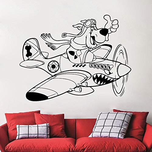 yaonuli Muursticker Cartoon Vinyl Muursticker Hond Open Vliegtuig Patroon Muurschildering Woondecoratie