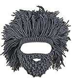 Kafeimali Men's Head Barbarian Vagabond Beanie Original Foldaway Beard Hats Halloween Funny Warm Winter Caps (Gray)
