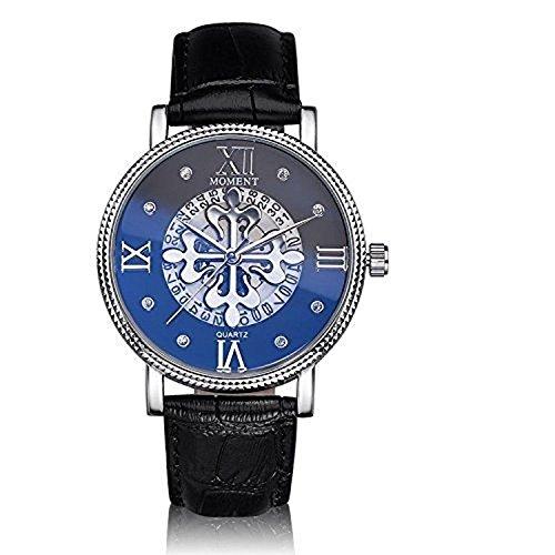 2015 Top Hombres Relojes Marca de Lujo Vintage Hombres Reloj Hueco PU Correa de Cuero Analógico Dual Reloj Casual Reloj W Calendario Aguja Azul Vidrio Superficie