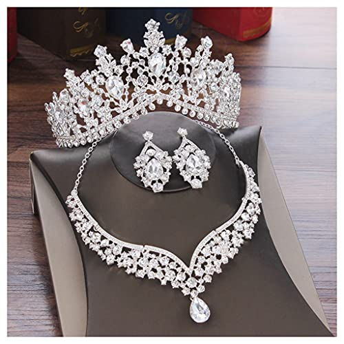 YYOBK TS Pendientes De Collar De Corona De Diamantes De Imitación Tocado, Conjunto De Joyas De Boda Nupcial, Boda Bridal Vestido Accesorios (Color : 3Pcs Jewelry Set)