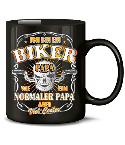 Golebros Ich Bin EIN Biker Papa wie EIN normaler Papa Aber viel co 4548 Tasse Becher Motorrad Biker Chopper Motorbike Männer Herren Zubehör Accessoires Schwarz