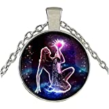 MXWY Collar Joyas Retro Tiempo Piedras Preciosas Blanco K Color Collar Doce Constelaciones Conjunto Completo De Modelos Femeninos, Acuario