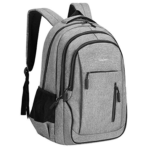 Laptop Backpack, Veballensty College School Computer Bookbag with USB Chargering/Headphone Port Fits 15.6 Inch Laptop or Notebook for Travel Outdoor Camping (Light Grey)