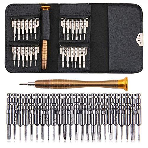 ZHTY 25 in 1 Multifunktions-Präzisions-Schraubendreher-Set Handyuhr Laptop-Tablet-Uhr Brillen Reparatursatz für Digitale Geräte Torx Phillips-Brieftaschen-Set mit Ledertasche