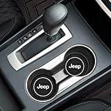 Fujun Upgraded 2 Pcs 2.75 inch Car Interior Accessories Anti Slip Cup Mat for Jeep, fit for Grand Cherokee Wrangler Compass Cherokee Renegade Patriot Grand Comander Decoration, etc All Models