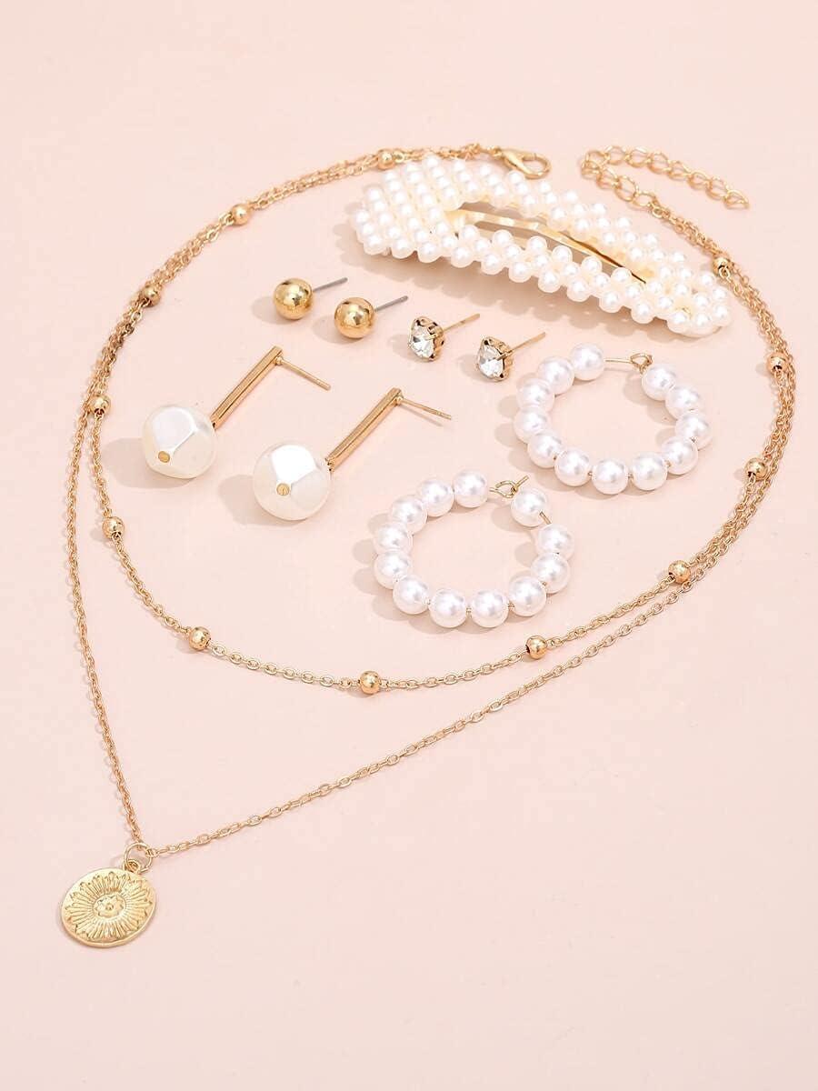ZHAWE Women's Jewelry Set Series Pearl S Decor Washington Mall 9pcs Faux National products
