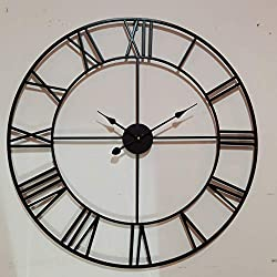 Large Wall Clock, European Retro Vintage Clock with Roman Numerals, Indoor Silent Non-Ticking Battery Operated Metal Rustic Clock for Home, Bedroom, Living Room -30INCH,Classical Matt Black