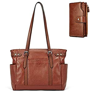 Laptop Totes for Women Genuine Leather Briefcase Large Ladies Shoulder Bag Work Handbags 15.6 Inch Computer Oil Wax Leather Wallets for Women Large Clutch Ladies Long Card Holders Organizer Brown 12