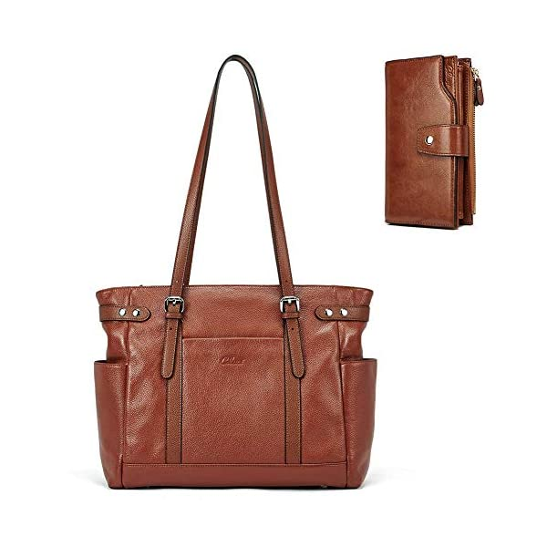 Laptop Totes for Women Genuine Leather Briefcase Large Ladies Shoulder Bag Work Handbags 15.6 Inch Computer Oil Wax Leather Wallets for Women Large Clutch Ladies Long Card Holders Organizer Brown 1