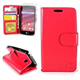 CoverON for LG Tribute/Transpyre/Optimus F60 Wallet Case [Carryall Executive Series] Synthetic Leather Flip Credit Card Phone Cover Pouch (Red) + Clear Screen Protector