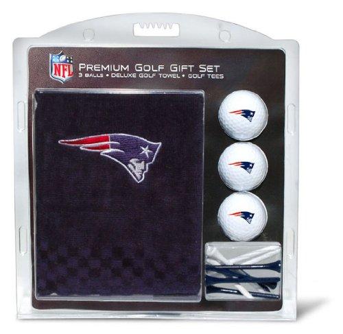 Team Golf NFL New England Patriots Gift Set Embroidered Golf Towel, 3 Golf Balls, and 14 Golf Tees 2-3/4' Regulation, Tri-Fold Towel 16' x 22' & 100% Cotton