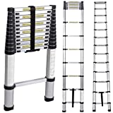 soges 3.8M Telescoping Ladder Aluminum Telescopic Extension Loft Ladder Multi-Purpose Ladder Portable Foldable