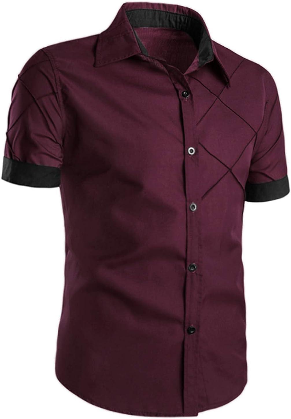 Lars Amadeus Men's Dress Shirt Short Sleeve Button Down Contrast Color Printed Bussiness Casual Shirt