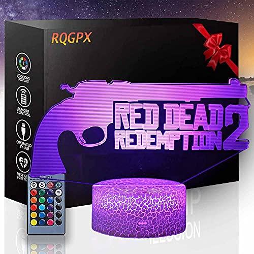 3D Night Lights Gun Smoke B Lámpara de humor para dormir 16 colores cambiando con control remoto, cumpleaños y día festivo, regalo para niños y niñas