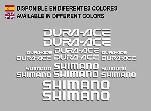 Ecoshirt 7W-RBAH-36CK Aufkleber Shimano Dura Ace F169 Vinyl Adesivi Decal Aufkleber-Set ungemein weiß MTB Stickers Bike