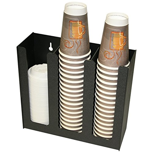 """Coffee Cups or Lid Holder, 12.5"""" Wide x 4.5"""" D x 12"""" H. Holds Solo Cups Too. Non-Breakable, Now With attachable stirrers or java jacket compartment, Wall-Mount Holes. Made in the USA! by PPM."""