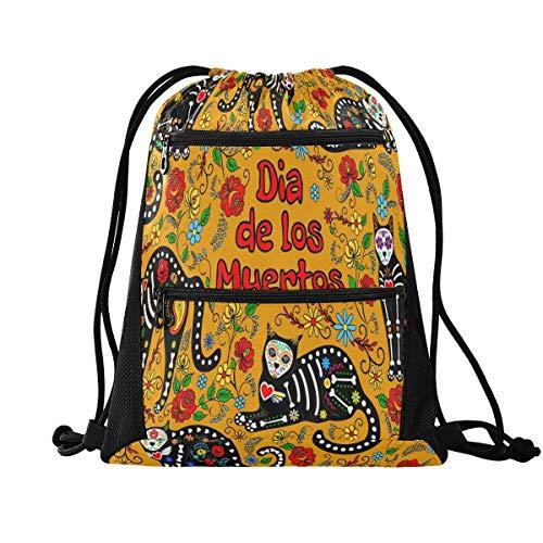 QMIN - Bolsa de gimnasio con cordón, diseño de calavera de azúcar, gato, con cita de animal, con bolsillos con cremallera, mochila deportiva, mochila de viaje, ligera, para hombres, mujeres, niños y niñas