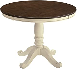 Ashley Whitesburg Round Dining Table in Brown and Cottage White