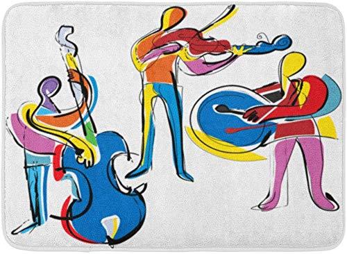 LXJ-CQ Fußmatten Bad Teppiche Fußmatte Bunte Musik Popart Abstrakte Musiker Jazz Malerei Kubismus Violine 19,5
