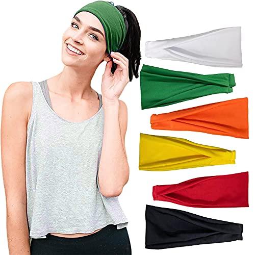 LEEDY 6PC Damen Stirnbands, Sport Haarband Elastic Wide Stirnband Schweißband für Sport Workout Laufen, Radfahren und Yoga Haarband