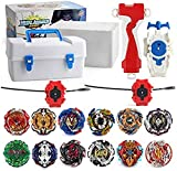 empty Battle Tops Burst Turbo Evolution Metal Fusion Bay Blade Toys Gyro Battling Top Game Starter Pack Set with 12 Spinning Top + 3 Launchers White