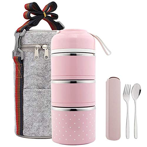 Stackable Lunch Box Stainless Steel Thermo Food Containers with Insulated Bag and Portable utensilLunch Containers for AdultsKidsSchoolOffice3TierPink