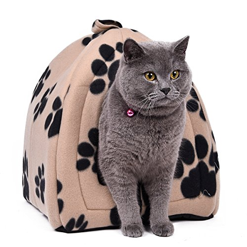 OHANA Pet Bed Cat Igloo Bed With Paws Printed Puppy House Bed Washable Soft Cave Bed with Cushion for Cats and Small Dogs Beige 40 * 32 * 32cm