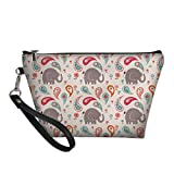 ZFRXIGN Elephant Paisley Makeup Bag Kids Pencil Pen PU leather Pouch Cosmetic Makeup Toiletry Bags Storage Portable Quick Pack Waterproof