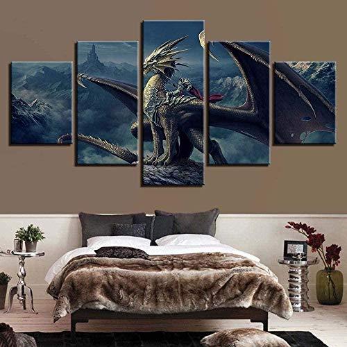 wodclockyui Leinwanddrucke 5 stück- Pterodactyl Malerei 5 Panel Leinwand Innenwand HD Kunstdekoration Gemälde und Poster 200cmx100cm Rahmenlos