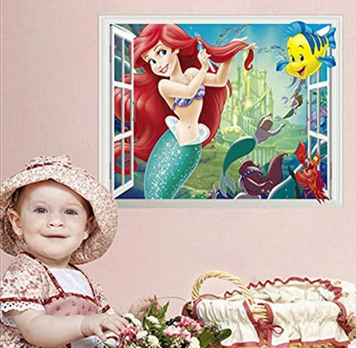 Wandtattoos-Meerjungfrau 3d Fensterbild 50x70cm Kinderzimmer/kindergarten/wohnzimmer/schlafzimmer/büro dekoration wandaufkleber