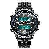 SKMEI - Reloj de pulsera analógico digital para hombre, correa de acero negro y cronógrafo, color negro