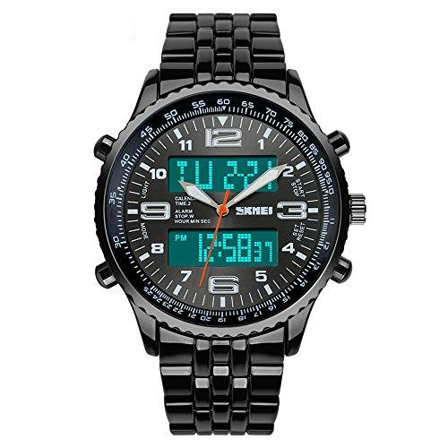 SKMEI Reloj de pulsera analógico digital de acero negro con correa de alarma, cronógrafo, color negro