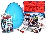 Uovo di Pasqua AVENGERS Gigante in Plastica con Giochi Sorprese Iron Man Hulk Thor Uovo contenitore Guscio Blu bambino