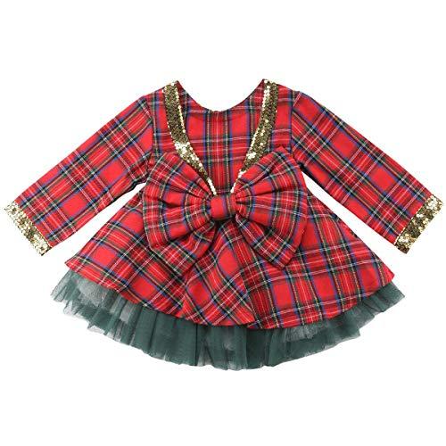 Carolilly Baby Mädchen Christmas Weihnachten Kleid Rock Prinzessin Hochzeit Geburtstag Brautjungfer Spitze Schleife Plaid Langarm Süß (Rot, 2-3 Jahre)