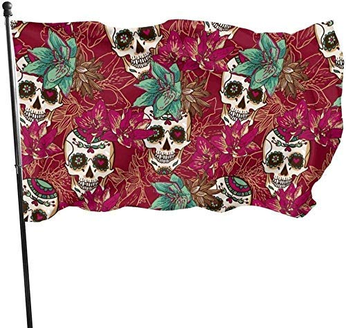 AOOEDM flag Garden flagHalloween Floral Skull Flower Pink Themed Welcome Party Outdoor Outside Decorations Ornament Picks Home House Garden Yard Decor 3 X 5 Ft Small Flag