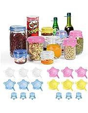 longzon Tapas Silicona Ajustables Cocina, 18 Piezas de Tapas de Silicona Reutilizables Ecológicas con Tapa de Cerveza,Tapas Silicona para Latas, Sin BPA, para Lavavajillas, Refrigerador - Redonda
