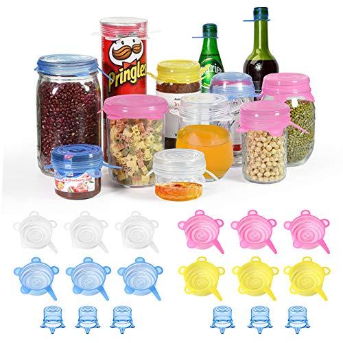 longzon Couvercle Silicone Alimentaire, [18 pcs] eco Couvercle Silicone Extensible, Film etirable reutilisable pour Tasse/Bouteille, pour Micro Ondes Four, Rangement frigo, LFGB, FDA,sans BPA-Mini