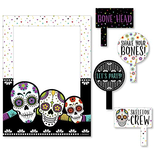 Big Dot of Happiness Day of the Dead - Halloween Sugar Skull Party Selfie Photo Booth Picture Frame and Props - Printed on Sturdy Material