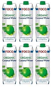 Foco Agua De Coco Bio Foco, Pura, Bebida Exótica De Moda, Refrescante Que Calma La Sed, Bebida Deportiva, Baja En Calorías, 100 % Vegana 1070 g - Pack de 6