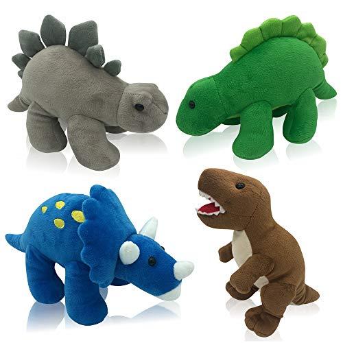 Plush Dinosaurs 4 Pack 10'' Long Great Gift for Kids Stuffed Animal Assortment Great Set for Kids