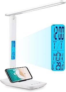 Lampe de Bureau LED, Lampe D'étude Rechargeable Fold, Réveil, Calendrier, Température, Lumières de Bureau D'horloge 3 Mode...