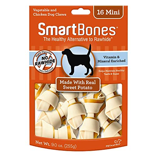 SmartBones Mini Chews With Real Sweet Potato 16 Count, Rawhide-Free Chews For Dogs, 066224