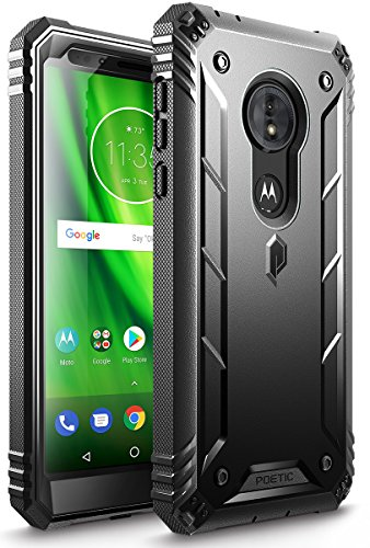 Moto G6 Play Rugged Case, Moto G6 Forge Rugged Case, Poetic Revolution [Built-in-Screen Protector] Heavy Duty Full Body Case for Moto G6 Play/Moto G6 Forge (2018 US Version) - Black