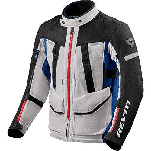 REV'IT! Chaqueta de motorista con protectores, chaqueta de moto Sand 4 H2O textil, para hombre, Tourer, todo el año, poliéster plateado y azul XXL