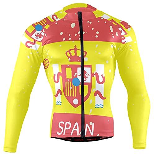 Magnesis Camiseta de manga larga para hombre, diseño de bandera de España