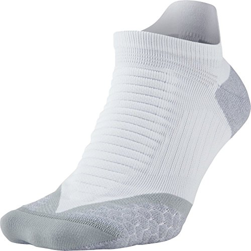 Nike Elite Running Cushion NST Paire de chaussettes Unisexe, No Show Socks Elite Running Cushion NST, Multicolore - White/Wolf Grey, 44-45.5