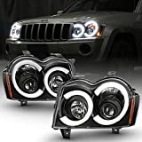 ACANII - For 2005-2007 Jeep Grand Cherokee Black LED Tube Projector Headlights Headlamps Assembly Driver & Passenger
